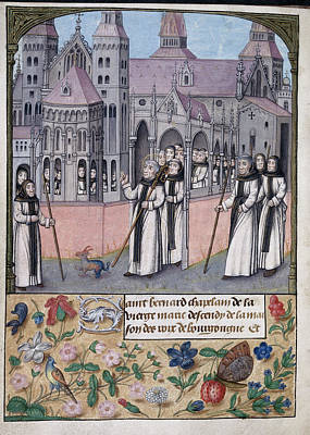 St Bernard Photograph - St Bernard With Monks Of Citeaux by British Library