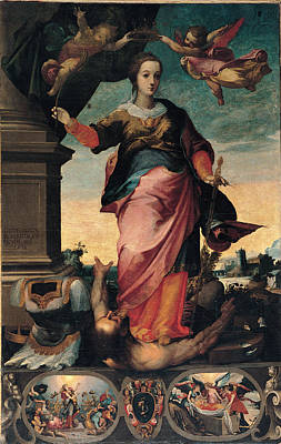 Woman Holding Baby Painting - St Catherine Of Alexandria, 1570 - 1611 by Il Sozzo