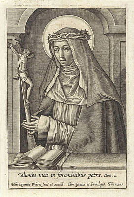 Dominican Drawing - St. Catherine Of Siena, Hieronymus Wierix by Hieronymus Wierix