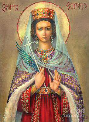 St. Catherine Art Print by Zorina Baldescu