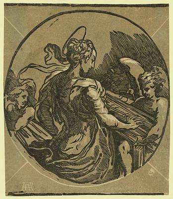 St. Cecilia. Chiaroscuro Woodcut, Print Showing Saint Art Print