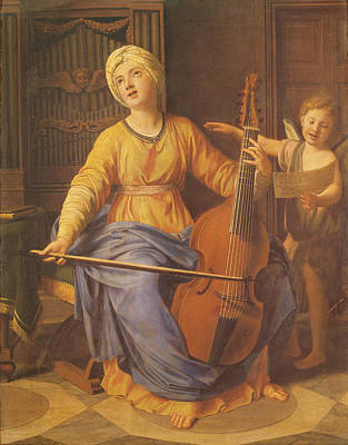 St. Cecilia Oil On Canvas Art Print by Nicolas Colombel