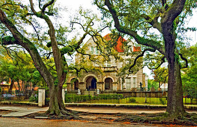 Live Oaks Digital Art - St. Charles Ave. Mansion Paint by Steve Harrington