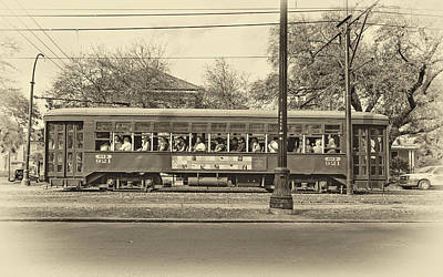 Mardi Gras Photograph - St. Charles Ave. Streetcar Sepia by Steve Harrington