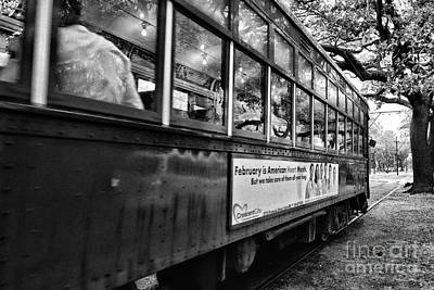 Watercolor Photograph - St. Charles Ave Streetcar Whizzes By-black And White by Kathleen K Parker