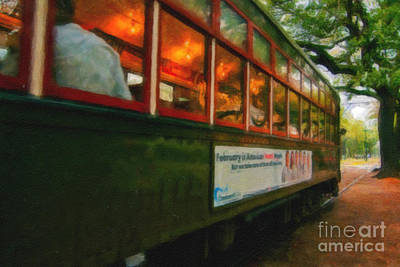 St. Charles Ave Streetcar Whizzes By - Digital Art Art Print by Kathleen K Parker