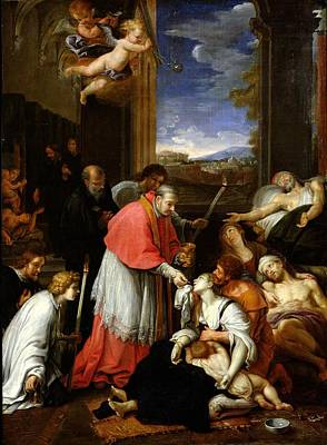 St. Charles Borromeo 1538-84 Administering The Sacrament To Plague Victims In Milan In 1576 Oil Art Print by Pierre Mignard