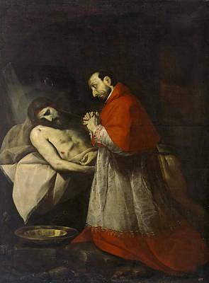 Borromeo Painting - St. Charles Borromeo Before Dead Christ by Giovanni Battista Crespi