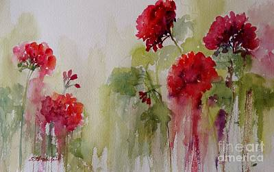 Painting - St. Charles Geraniums by Sandra Strohschein