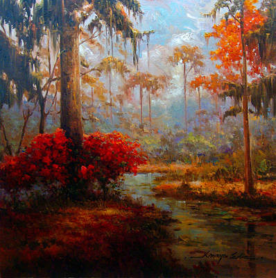 Painting - St Charles Stream - Louisiana Swamp Delta Landscape Painting by Kanayo Ede