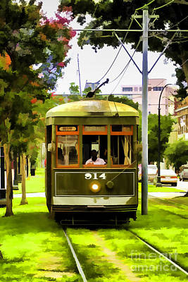 Digital Art - St Charles Trolley #914 by David Doucot