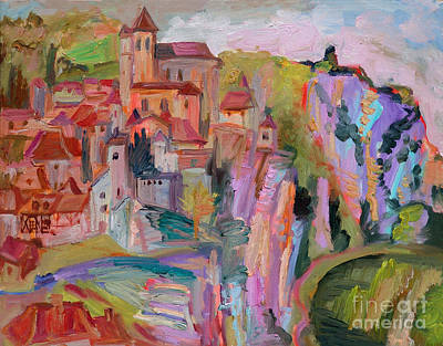 Painting - St-cirq-lapopie Vue D'autre Rive by Katia Weyher