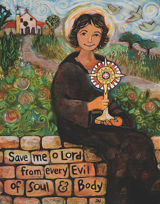 Italian School Painting - St. Clare Of Assisi by Jen Norton