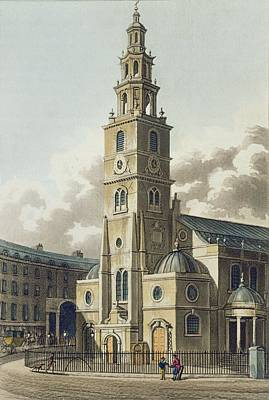 Gibbs Drawing - St. Clement Danes Church, Pub by English School