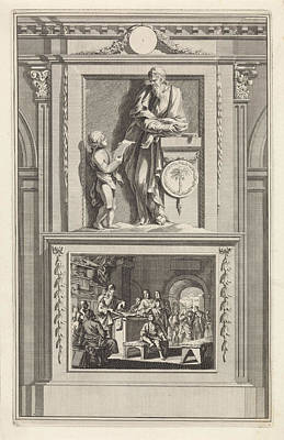 Dictate Drawing - St. Clement Of Alexandria, Church Father by Jan Luyken And Zacharias Chatelain Ii And Jan Goeree