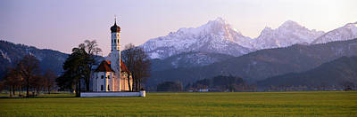 Snow Covered Fields Photograph - St Coloman Church And Alps Schwangau by Panoramic Images