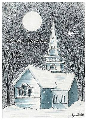 Painting - St Cuthbert's In The Snow Greeting by Joan-Violet Stretch