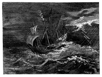 Ocean Sailing Photograph - St Elmo's Fire On Columbus's Ship by Science Photo Library
