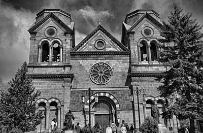 St. Francis Cathedral Basilica Study 5 Bw Art Print