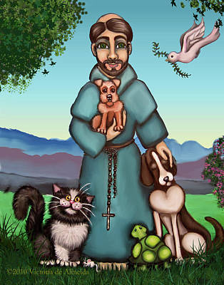 Tree Art Painting - St. Francis Libertys Blessing by Victoria De Almeida