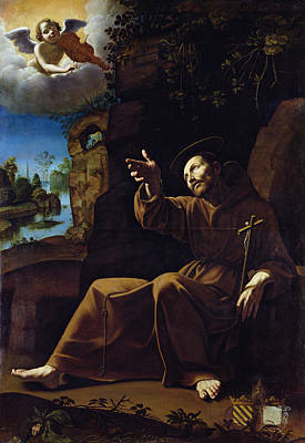 St. Francis Of Assisi Consoled By An Angel Musician Oil On Canvas Art Print by Italian School