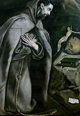 Franciscan Painting - St Francis Of Assisi by El Greco Domenico Theotocopuli