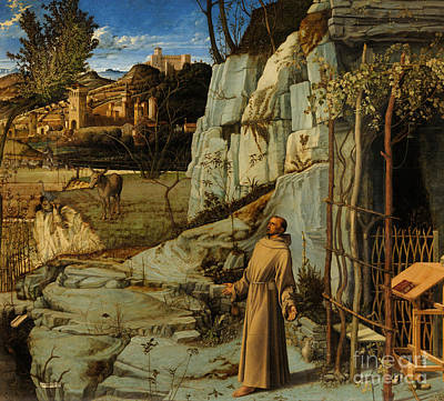 St Francis Of Assisi In The Desert Art Print by Giovanni Bellini