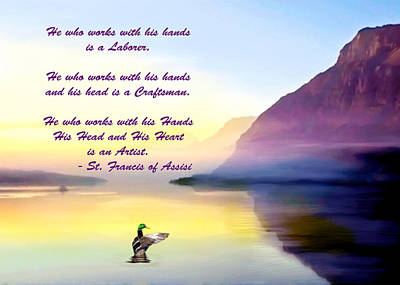 Painting - St Francis Of Assisi Quotation by Bob and Nadine Johnston