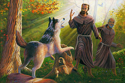 Franciscan Painting - St. Francis Taming The Wolf by Steve Simon