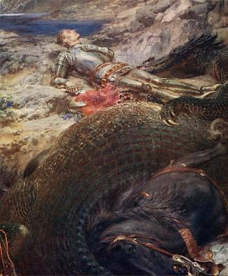 Slaying Painting - St George And The Dragon - 1914 by Briton Riviere