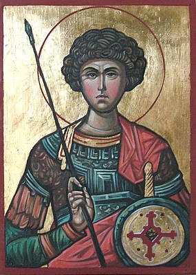 Byzantine Icon Painting - St. George by Filip Mihail