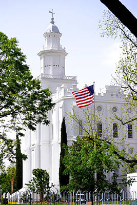 Photograph - St George Lds Temple With Flag by rd Erickson