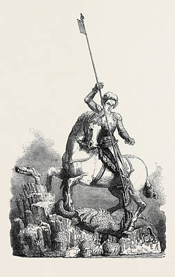 Prague Castle Drawing - St. George Slaying The Dragon From The Old Palace At Prague by English School