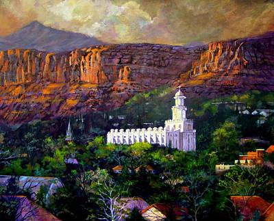 Lds Painting - St. George Temple Red Hills by Marcia Johnson