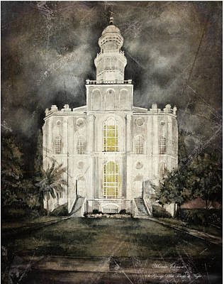 Painting - St. George Utah Temple At Night by Marcia Johnson