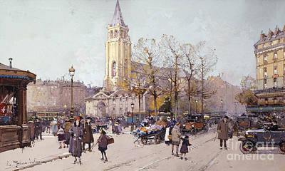 St. Germaine De Pres Art Print by Eugene Galien-Laloue