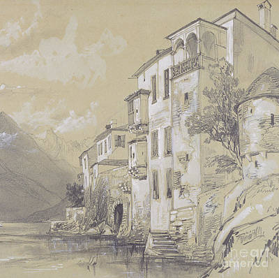 Italian Landscapes Drawing - St Giulio Orta by Edward Lear
