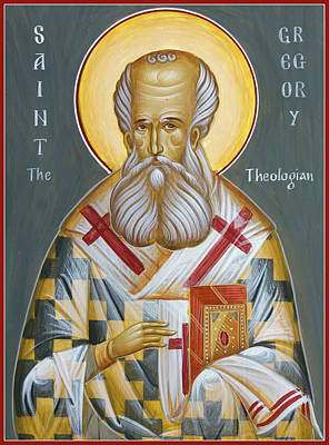 Egg Tempera Painting - St Gregory The Theologian by Julia Bridget Hayes