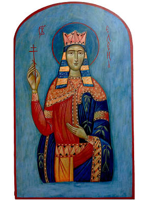 Greek Icon Painting - St. Helen by Basia Mindewicz