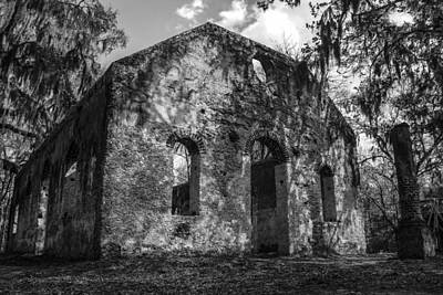 St Helena Chapel Of Ease  Bw 3 Art Print by Steven  Taylor