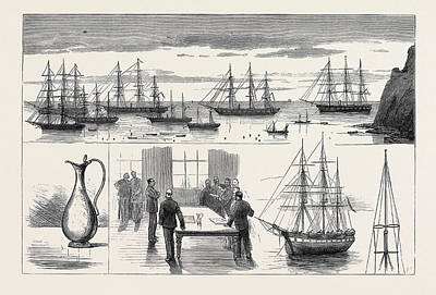 Water Jug Drawing - St. Helena The Detached Squadron At Anchor by English School
