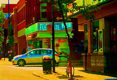 Jukebox Painting - St Henri  Montreal Street Scene Corner Flower Shop Boutique Fleuriste Art Carole Spandau by Carole Spandau