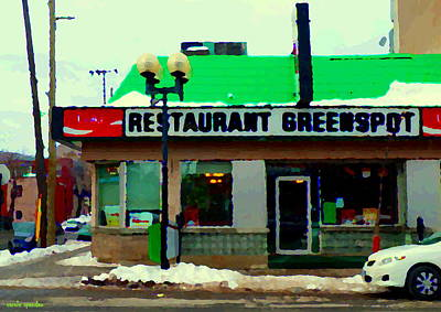 St Henri Restaurant Greenspot Hotdog Poutine Deli  Notre Dame Montreal Urban  Scenes Carole Spandau Art Print