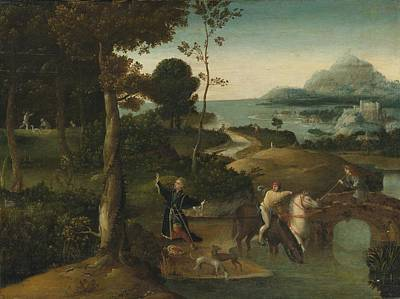 Stag Painting - St Hubert And The Stag In A Landscape by Celestial Images