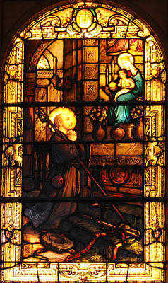 Stained Glass Photograph - St Ignatius Loyola In Stained Glass by Philip Ralley