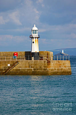 St Ives And Godrevy Lighthouses Cornwall Art Print by Terri Waters