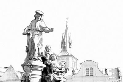 St. Ivo Statue On The Charles Bridge. Prague Art Print by Jenny Rainbow