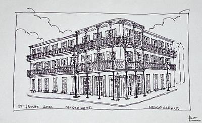 St James Hotel On Magazine Street Art Print