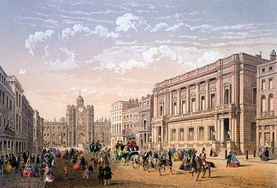 Conservative Drawing - St James Palace And Conservative Club by Achille-Louis Martinet
