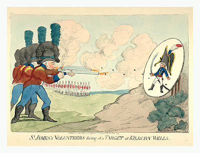 Oversized Drawing - St. Jamess Volunteers Firing At A Target At Kilburn Wells by Litz Collection